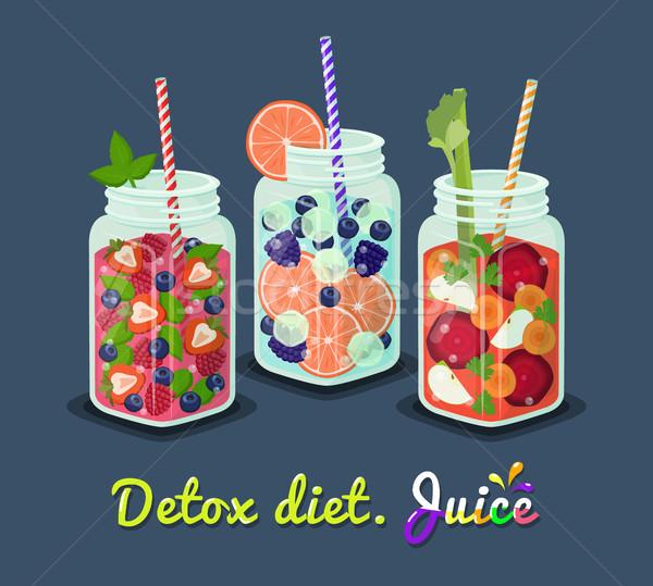 Detoxikáló diéta bögre friss ital dzsúz Stock fotó © robuart