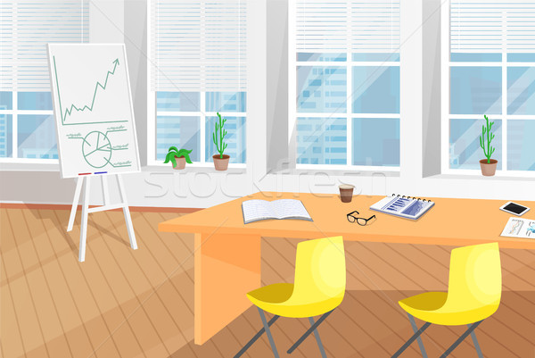 Shiny Office Room with Table and Flip Chart Poster Stock photo © robuart