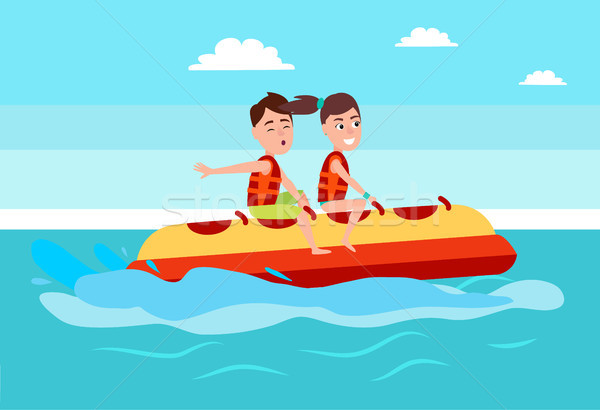 Banana Boat People Summer Activity, Boy and Girl Stock photo © robuart
