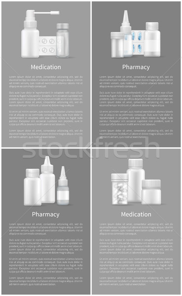 Pharmacy and Medication Set Web Posters Containers Stock photo © robuart
