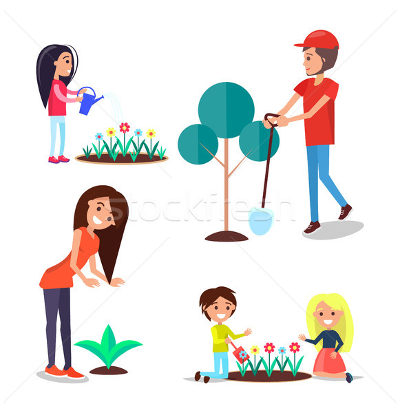 World Environment Day Poster Set People and Plants Stock photo © robuart