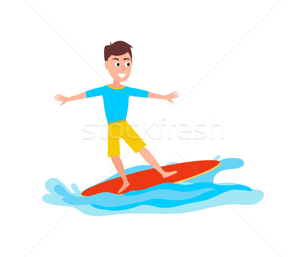 Surfing Sport Activity and Boy Vector Illustration Stock photo © robuart