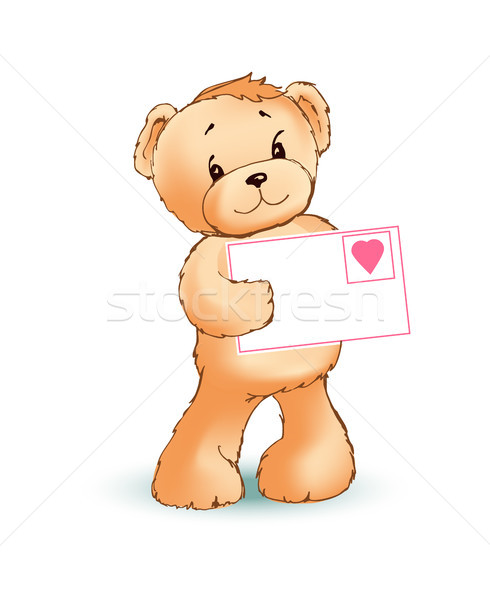 Teddy Bear and Love Letter Vector Illustration Stock photo © robuart