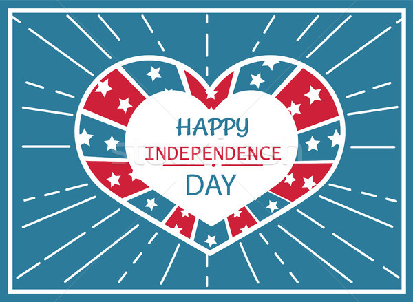 Happy Independence Day Poster Heart Shape Label Stock photo © robuart