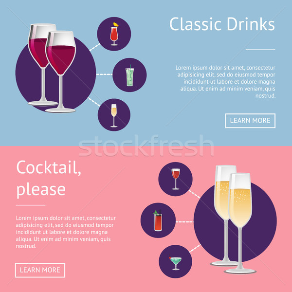 Classic Drinks Cocktail Posters with Alchohol Stock photo © robuart