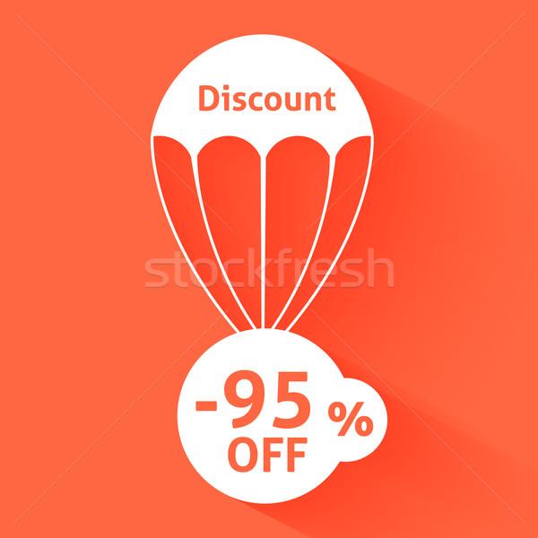 Réduction parachute texte taille affaires signe Photo stock © robuart
