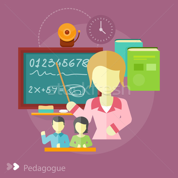 Pretty teacher with a pointer Stock photo © robuart