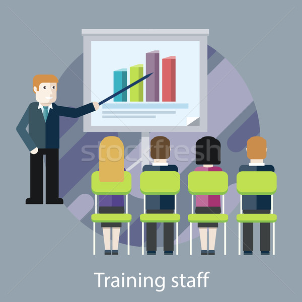 Training staff. People in the Hall and a Lecturer Stock photo © robuart