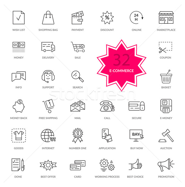 Set of E-commerce Thin, lines icons Stock photo © robuart