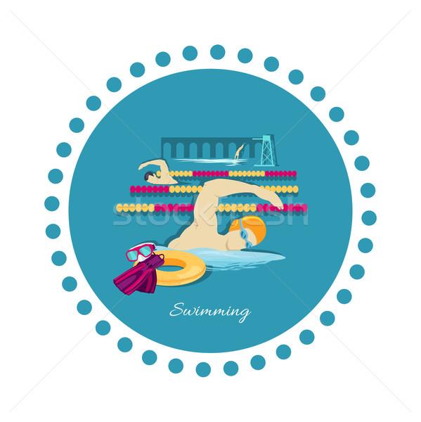 Swimming Sport Concept Icon Flat Design Stock photo © robuart