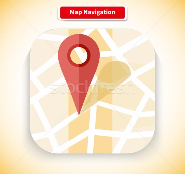 Mapa navegação aplicativo ícone estilo projeto Foto stock © robuart