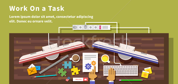 Work on Task Design Flat Style Stock photo © robuart