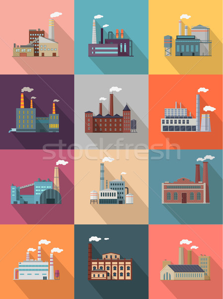 Set of Building Plant or Industrial Factory Stock photo © robuart