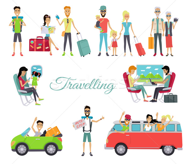 Travelling Autostop. Set of Character People Stock photo © robuart