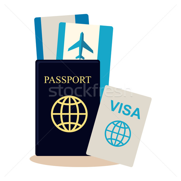 Voyageur documents style design passeport Photo stock © robuart