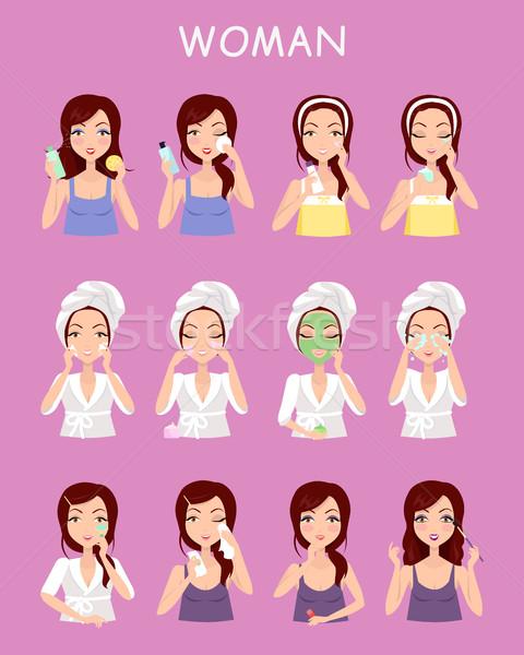 Woman Instruction How to Make Up Correctly. Stock photo © robuart