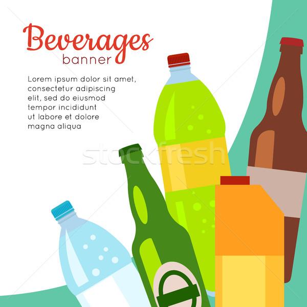 Beverages Banner. Set of Drinks in Bottles Stock photo © robuart