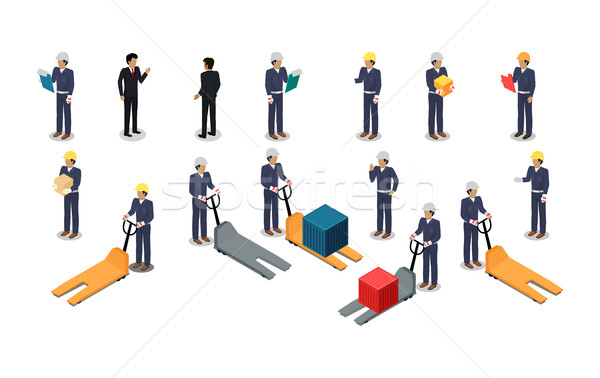 Employees Postal or Warehouse Company in Isometric Stock photo © robuart