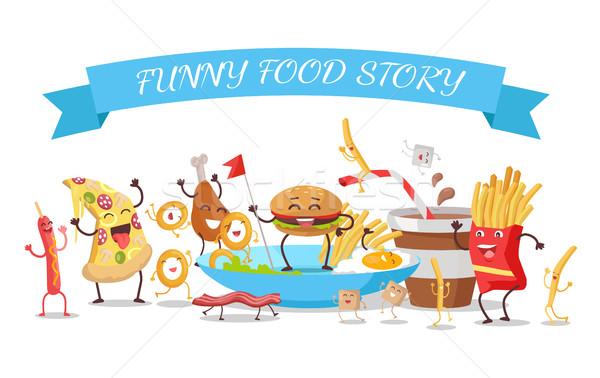 Grappig voedsel verhaal banner kinderachtig menu Stockfoto © robuart