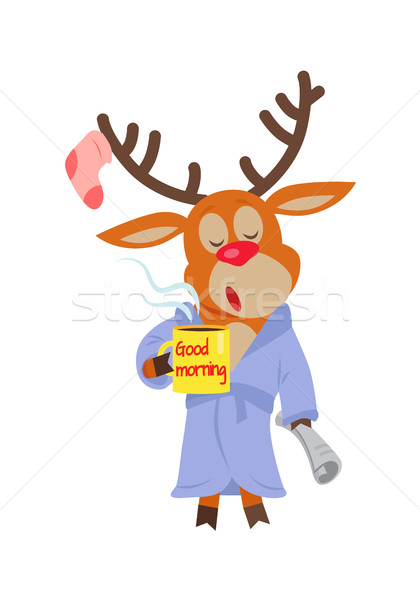 Deer in Sleepwear Isolated. Reindeer in Morning Stock photo © robuart