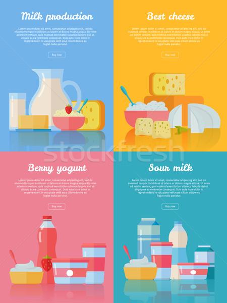 Mleka produkcji ser Berry jogurt śmietana Zdjęcia stock © robuart