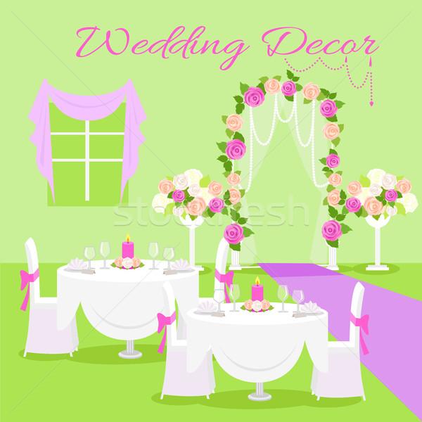 Свадебная церемония дизайна вектора стиль зеленый Сток-фото © robuart