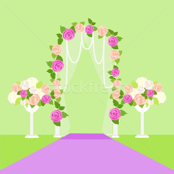 Bruiloft boog deur bloemen romantische element Stockfoto © robuart