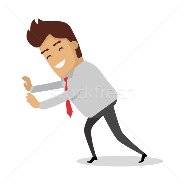 Man Pushing Unseeing Wall. Businessman with tie Stock photo © robuart