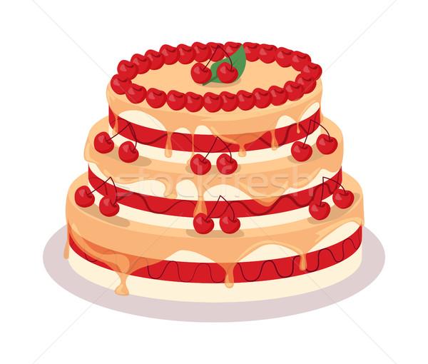 ünnepi torta háló szalag csokoládé finom Stock fotó © robuart