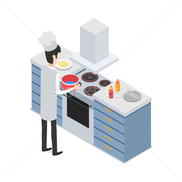 At Restaurant. Male Chef Taking Pot on Cooker Stock photo © robuart