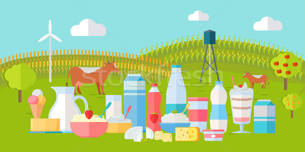 Milk Production Banner. Traditional Dairy Products Stock photo © robuart
