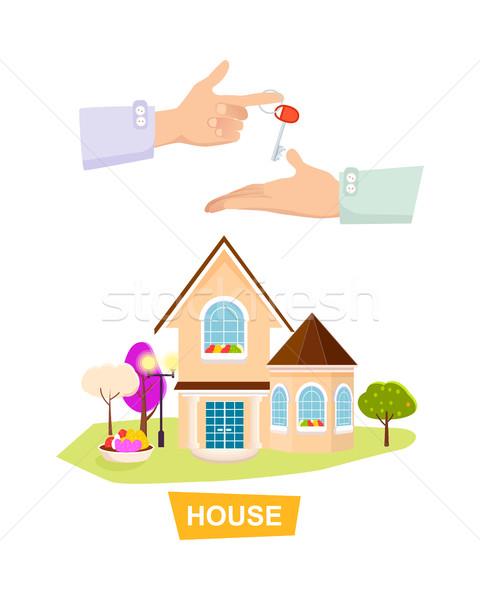 új ház fehér tulajdon elad új gyönyörű Stock fotó © robuart