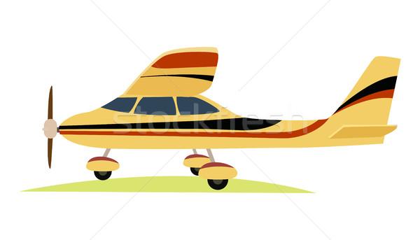 современных желтый самолет белый стиль самолета Сток-фото © robuart