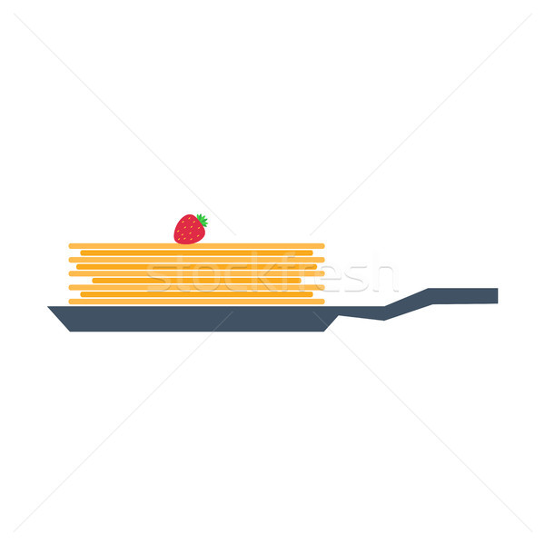 Pancakes on Frying Pan with Strawberry Vector Stock photo © robuart