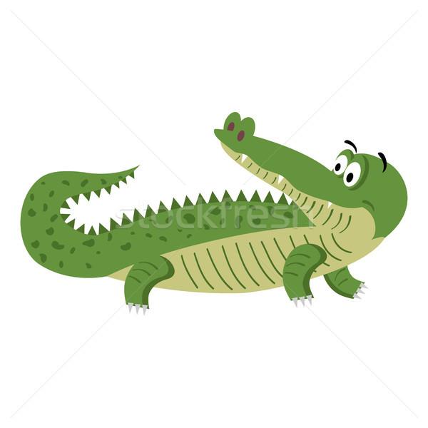 Bonitinho desenho animado crocodilo naturalismo pose isolado Foto stock © robuart