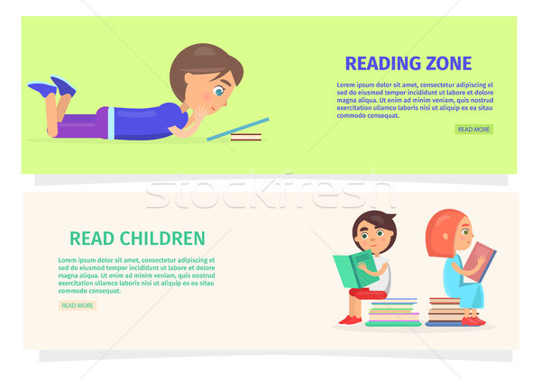Children Reading Zone Information Illustration Stock photo © robuart