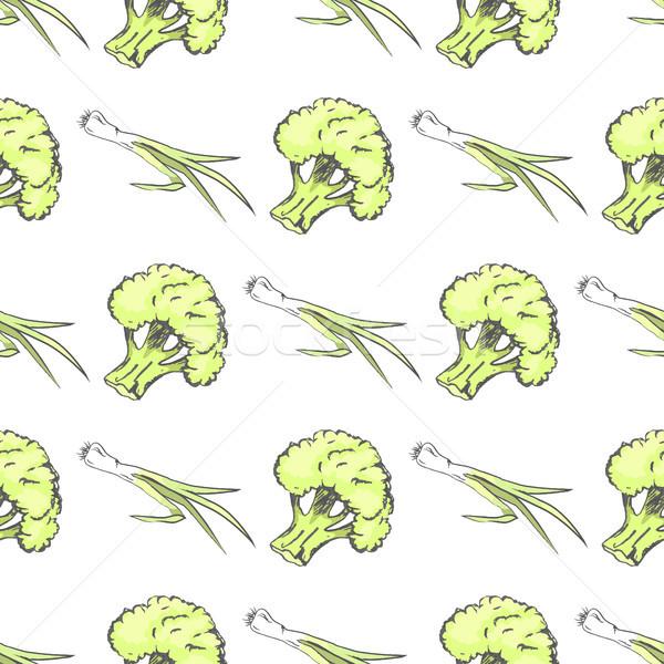 Green Organic Broccoli and Leek Endless Texture Stock photo © robuart