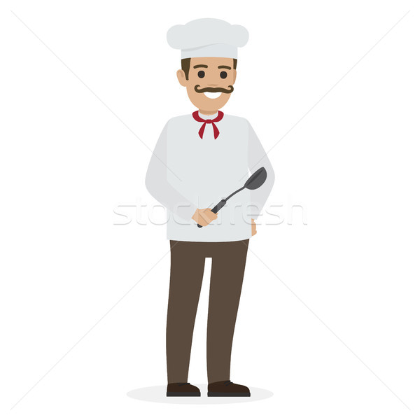 Chef Food in White Tunic and Toque Holds Ladle Stock photo © robuart
