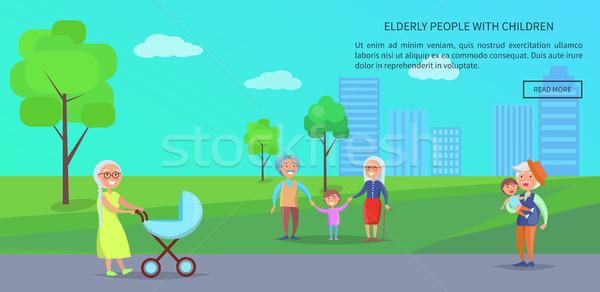 Idős emberek park vektor szalag érett párok Stock fotó © robuart