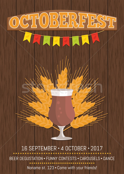 Octoberfest Promotional Poster with Beer Glass Stock photo © robuart