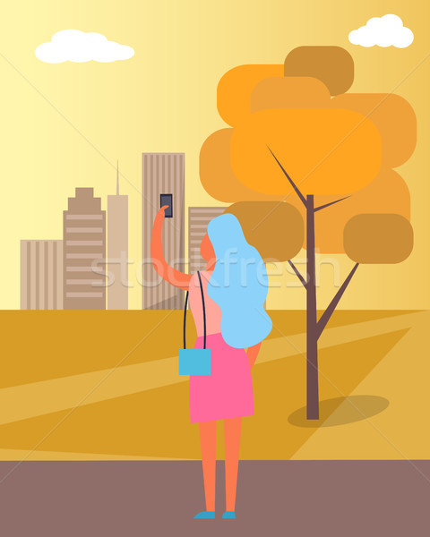 Woman Taking Picture of City Vector Illustration Stock photo © robuart