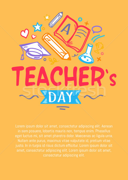 Happy Teachers Day Poster with Icons Silhouettes Stock photo © robuart