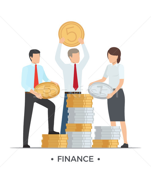 Finance People with Coins Vector Illustration Stock photo © robuart