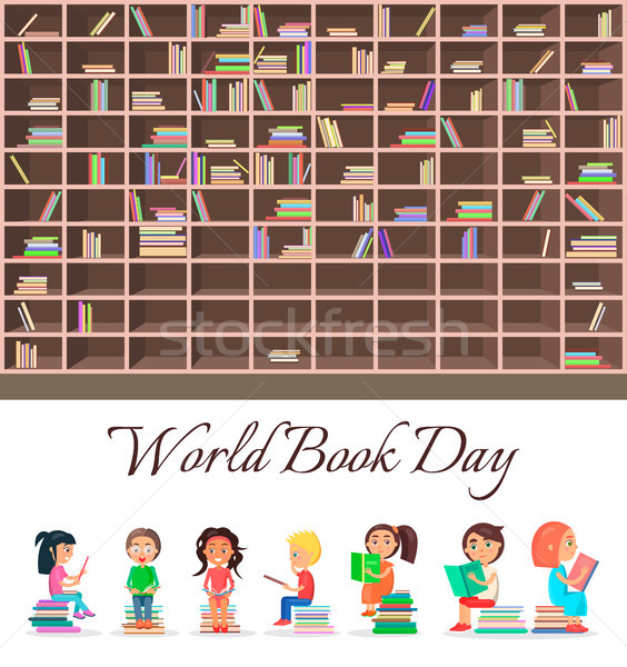 Concept of World Book Day with Big Brown Bookcase Stock photo © robuart
