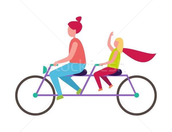 матери дочь верховая езда велосипед иллюстрация Сток-фото © robuart