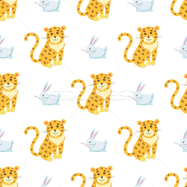 Cute Leopards and Rabbit Vector Seamless Pattern Stock photo © robuart