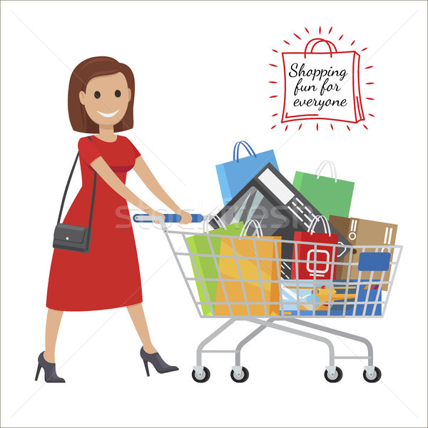 Shopping Fun For Everyone. Cartoon Woman with Cart Stock photo © robuart