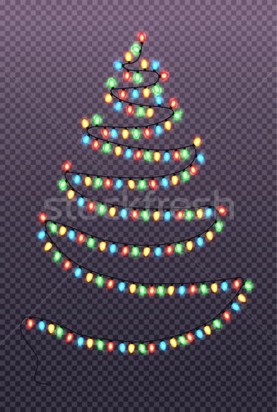 Noel soyut ağaç çelenk lambalar Stok fotoğraf © robuart