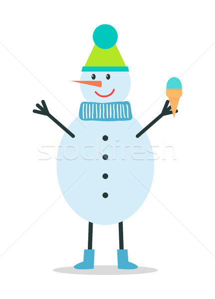 Snowman in Winter Hat and Scarf Holds Ice Cream Stock photo © robuart
