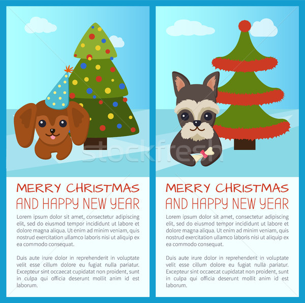 Merry Christmas Pine Tree Set Vector Illustration Stock photo © robuart